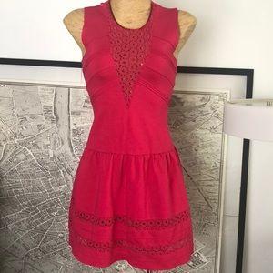 maje scuba red dress size 2